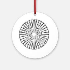 Metallic Silver Chinese Snake Kanji Circle Ornamen