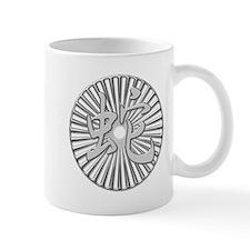 Metallic Silver Chinese Snake Kanji Circle Mug