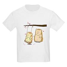 Cute Cartoon Hedgehog couple at tree swing T-Shirt