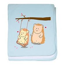 Cute Cartoon Hedgehog couple at tree swing baby bl