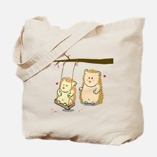 Cute Cartoon Hedgehog couple at tree swing Tote Ba