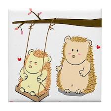Cute Cartoon Hedgehog couple at tree swing Tile Co