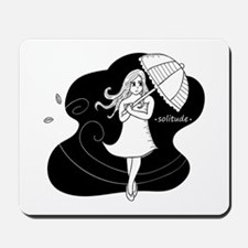 Girl carrying an umbrella on windy day Mousepad