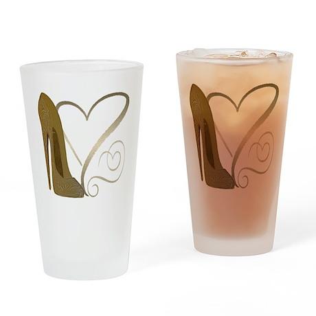 Vintage Stiletto Shoe Hearts Drinking Glass