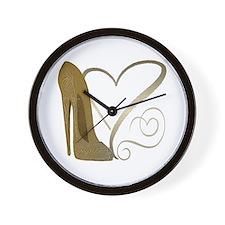 Vintage Stiletto Shoe Hearts Wall Clock
