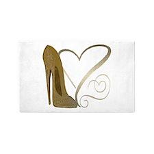 Vintage Stiletto Shoe Hearts 3'x5' Area Rug