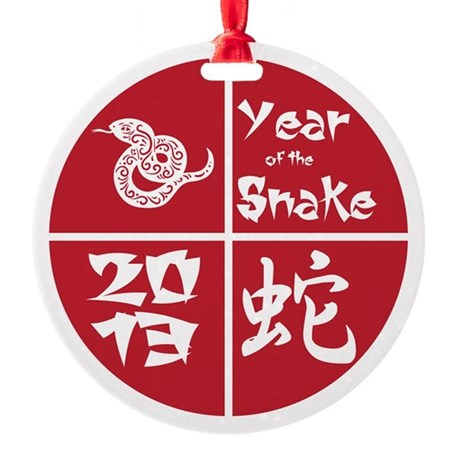 Red Circle Year of the Snake 2013 Round Ornament
