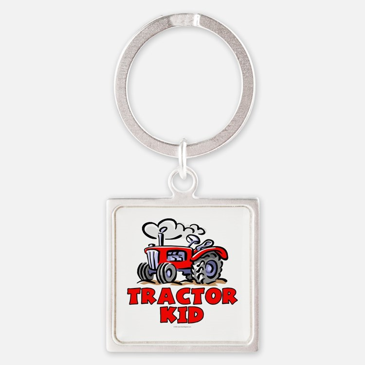Red Tractor Kid Square Keychain