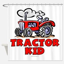 Red Tractor Kid Shower Curtain