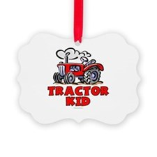 Red Tractor Kid Ornament