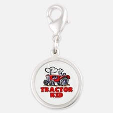 Red Tractor Kid Silver Round Charm