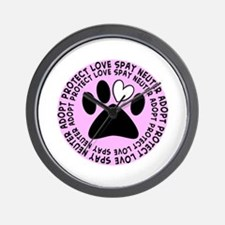 Spay neuter BIGGER PINK.PNG Wall Clock