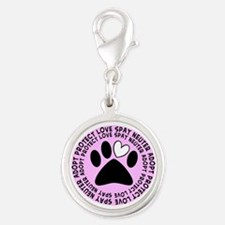 Spay neuter BIGGER PINK.PNG Silver Round Charm