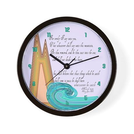 Mark 11 23 Bible Verse Wall Clock by KingJamesBibleVerses