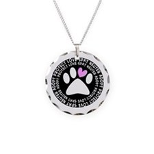 spay neuter adopt BLACK OVAL.PNG Necklace
