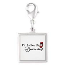 Rather Be Geocaching Silver Square Charm