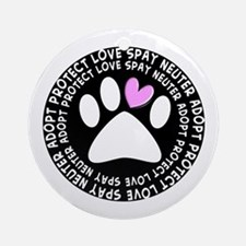 spay neuter adopt BLACK OVAL.PNG Ornament (Round)