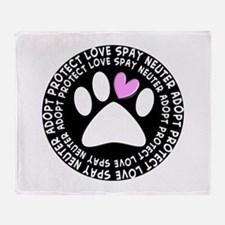 spay neuter adopt BLACK OVAL.PNG Throw Blanket