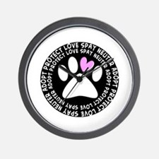 spay neuter adopt BLACK OVAL.PNG Wall Clock