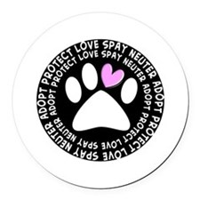 spay neuter adopt BLACK OVAL.PNG Round Car Magnet
