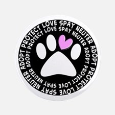 "spay neuter adopt BLACK OVAL.PNG 3.5"" Button"