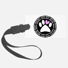 spay neuter adopt BLACK OVAL.PNG Luggage Tag