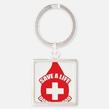 Save a Life, Donate Blood Square Keychain