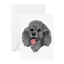 Gray Poodle Greeting Cards (Pk of 10)