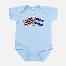 El-Salvador America Friend ship flag. Infant Bodys