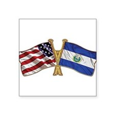 El-Salvador America Friend ship flag. Square Stick