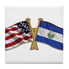 El-Salvador America Friend ship flag. Tile Coaster