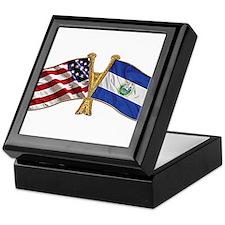 El-Salvador America Friend ship flag. Keepsake Box