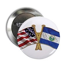 "El-Salvador America Friend ship flag. 2.25"" Button"