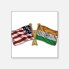 "India Usa Friend ship falgs Square Sticker 3"" x 3"""