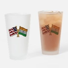 India Usa Friend ship falgs Drinking Glass