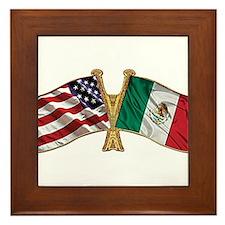 Mexico USA Friend ship flag Framed Tile