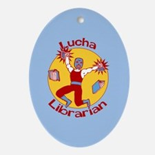 Lucha Librarian Ornament (Oval)