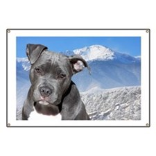Blue American Pit Bull Terrier Puppy Dog Banner