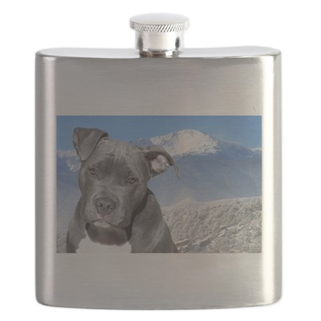 Blue American Pit Bull Terrier Puppy Dog Flask