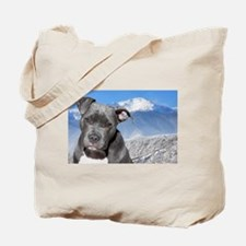 Blue American Pit Bull Terrier Puppy Dog Tote Bag