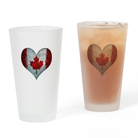 Canadian heart Drinking Glass