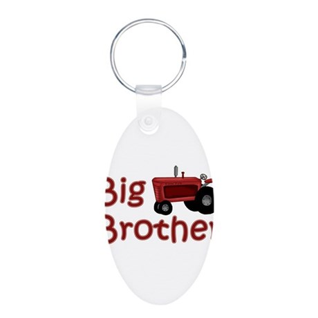 Big Brother Red Tractor Aluminum Oval Keychain