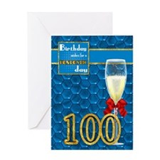 100th Birthday - Geometric Birthday Card Champagne