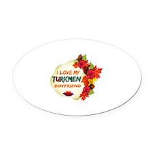 Turkmen Boyfriend designs Oval Car Magnet