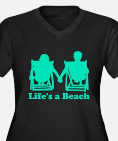 Life's a Beach Women's Plus Size V-Neck Dark T-Shi