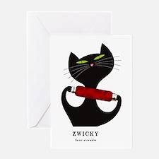 black cat thread Greeting Card