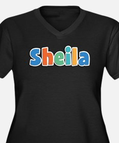 Sheila Spring11B Women's Plus Size V-Neck Dark T-S