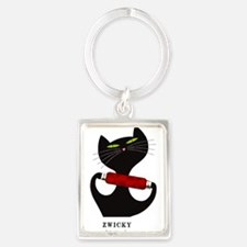 black cat thread Portrait Keychain