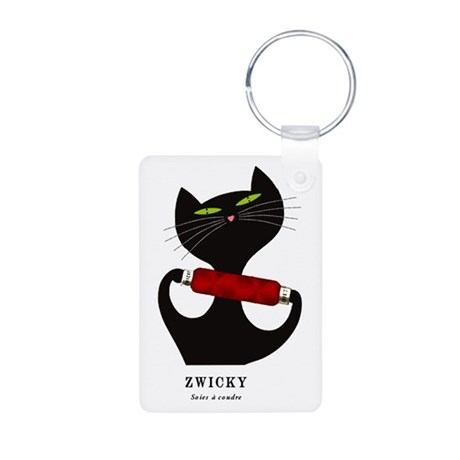 black cat thread Aluminum Photo Keychain