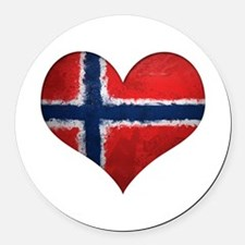 Norway Heart Round Car Magnet